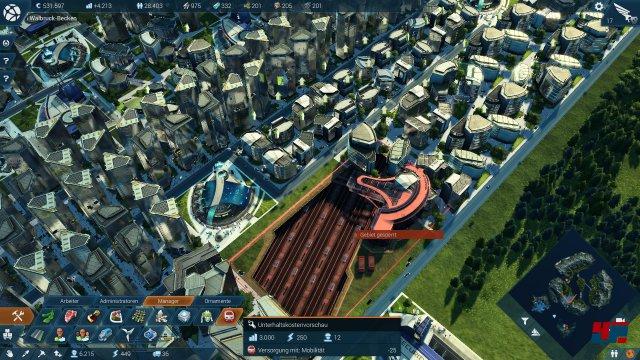 """Die Einwohner der dritten Bevölkerungsstufe verlangen nach """"Mobilität"""". Abhilfe schafft da der U-Bahnhof, der jedoch ziemlich viel Platz einnimmt. Zum Glück lassen sich mit der praktischen Verschiebefunktion die Gebäude direkt auf der Karte verschieben - obgleich diese Funktion doch ziemlich unrealistisch ist."""