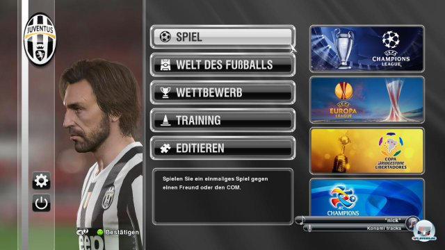 Das neue Hauptmen� mit Pirlo als Lieblingsspieler - bei den Traumwerten muss man den Techniker einfach lieben.