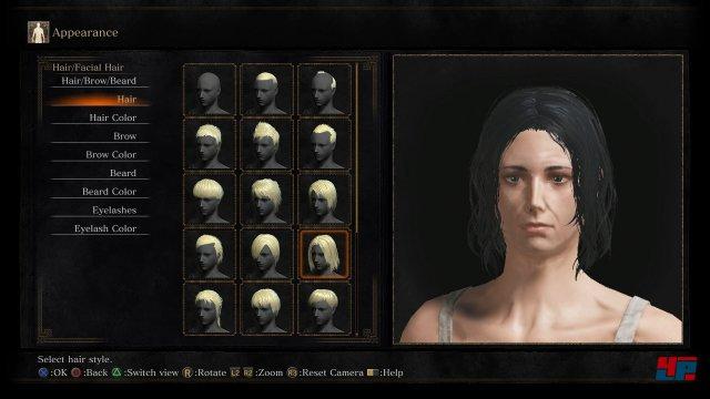 Ihr könnt zwischen Mann und Frau wählen und zig kosmetische Anpassungen betreiben. Das sind Bilder der englischen Version, aber die Texte von Dark Souls 3 wurden gut ins Deutsche übersetzt.