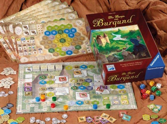 Inhalt: Spielplan, 6 Spielertafeln, 56 Geb�ude-, 42 Waren-, 28 Tier-, 26 Schiff- und 16 Burgenpl�ttchen, 9 W�rfel, 24 Holzsteine, Regelheft.