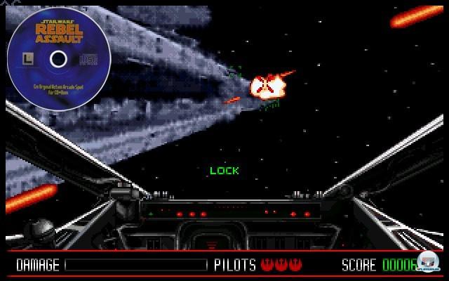 <b> Star Wars: Rebel Assault </b><br><br>Im Jahr 1993 kurbelte ein Star-Wars-Spiel den PC-Absatz an: Lucas Arts Rebel Assault war ein echtes Verkaufsargument f�r CD-Laufwerke, denn die Gefechte spielten sich vor jeder Menge speicherintensiver Hintergrundfilme ab. Sp�ter wurde der Titel unter anderem f�r Segas Mega-CD und das 3DO umgesetzt.