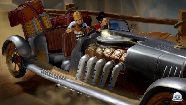 Actionreiche Szenen werden mit Kamerafahrten isnzeniert. Hier müssen Amanda und Yves während der Fahrt das Getriebe flicken.