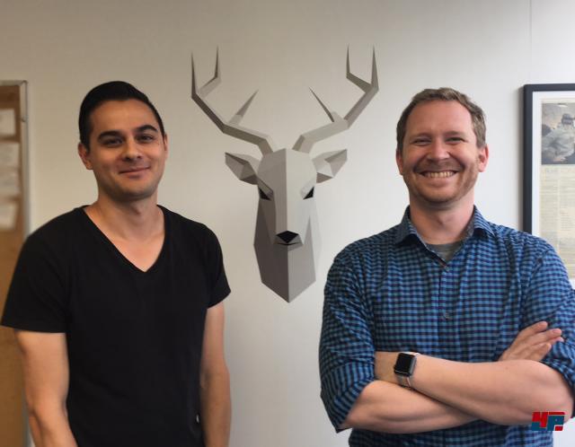Die zwei Studiogründer Derek Young (links) und Alan Jernigan erklärten uns die Hintergründe ihrer surrealen VR-Puzzles.