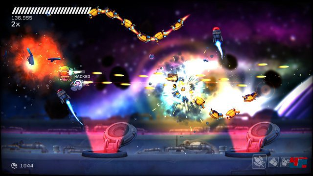 In einem Abschnitt wird sogar auf die 360-Schussrichtung verzichtet, so dass Rive zu ganz klassicher Arcade-Action wird.